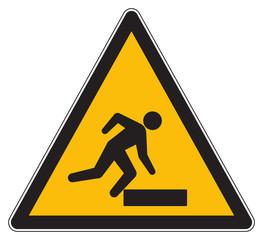 Caution trip hazard yellow sign