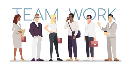 Teamwork skills flat vector banner template. Multiracial businessmen, colleagues, partners cooperation cartoon characters. Office workers, employees holding suitcases, talking on mobile phone