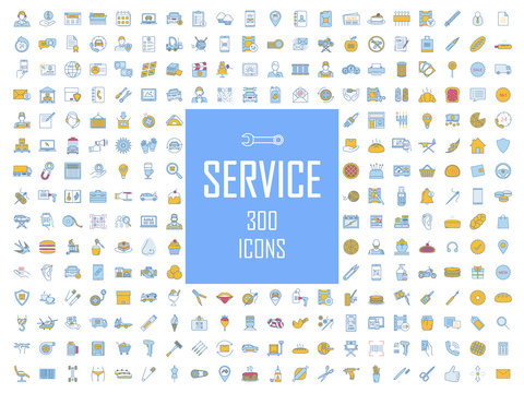Service color icons big set. Car service, technical assistance service, atelier. Spa and tattoo salons, barbershop. Shop, cafe, restaurant. Customer service. Call center. Isolated vector illustrations