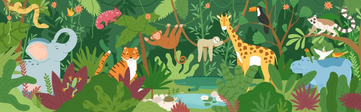 Adorable exotic animals in tropical forest or rainforest full of palm trees and lianas. Flora and fauna of tropics. Cute funny inhabitants of African jungle. Flat cartoon colorful vector illustration.