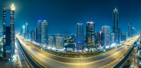 Aerial view on downtown Dubai, UAE. Travel and architectural background.