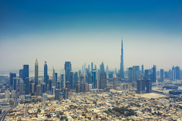 Aerial view on downtown Dubai, UAE, on a summer day