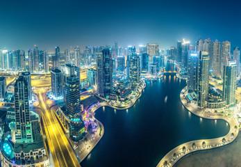 Printed roller blinds Dubai Dubai Marina at night
