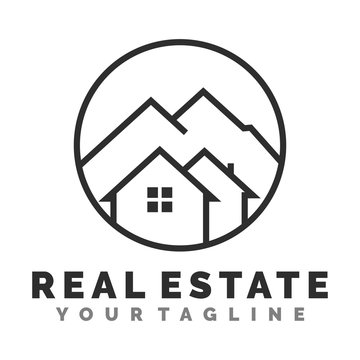 home and mountain logo template