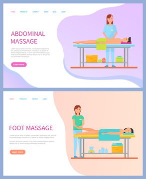 Masseuse doing abdominal and foot massage for clients vector. Web page with flat people making spa procedures and lying on table, healthcare and relaxation
