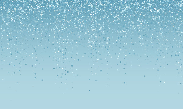 Silver confetti falling on blue white holiday background. Vector carnival party glitter, sparkling shine confetti background