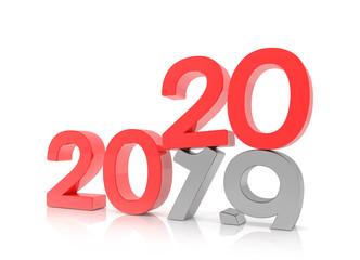 3d illustration - 2019 - 2020 - Silvester, Neujahr, Countdown, Jahreszahlen - rot