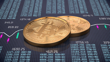 3d render of two golden bitcoin on trading chart background