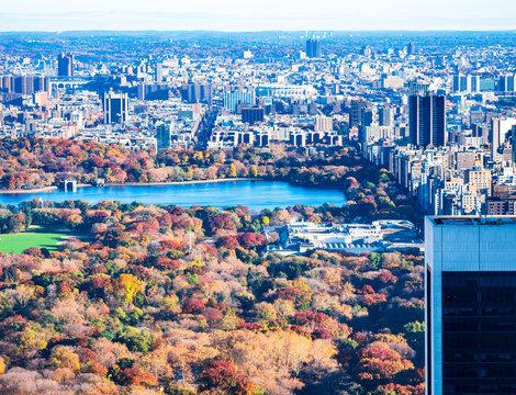 秋のニューヨーク セントラル・パークとマンハッタン