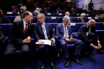 """World Bank President Malpass, IMF Deputy Managing Director Lipton, Federal Reserve Board Chairman Powell and Governor of the Bank of France Villeroy de Galhau attend a conference entitled """"Bretton W"""