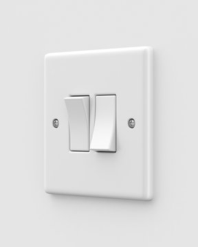 Double light switch on a light grey background. 3d render. Angled view. Isolated Objects Series.