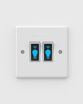Smart double light switch mounted on a white wall. 3d render. Front view. Smart Home Series.