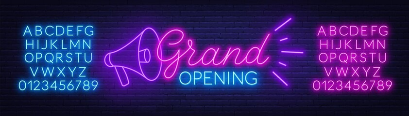 Fototapete - Grand opening neon sign on dark background. Poster,banner for the opening ceremony. Neon alphabet. Template for design.