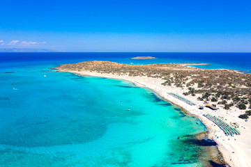 Obraz Aerial view of the exotic Chryssi island at the south of Crete, with the amazing Golden Beach, Greece - fototapety do salonu