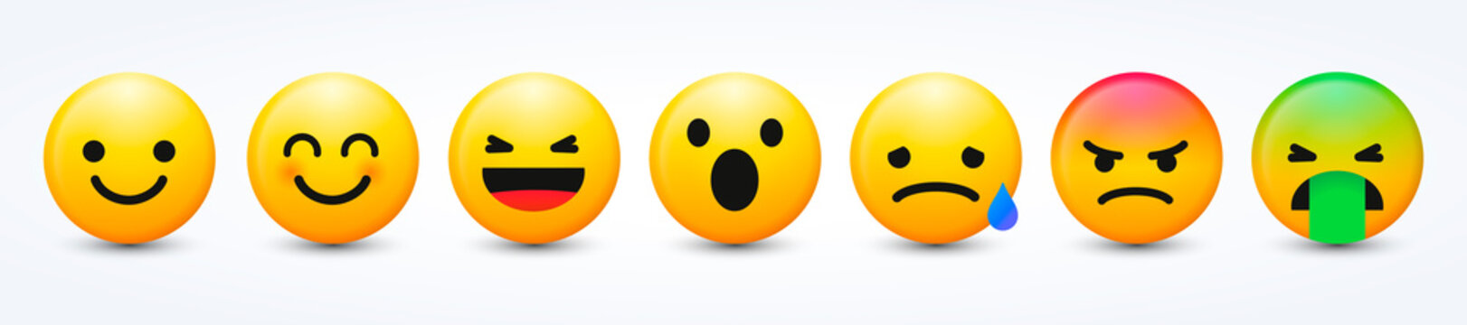 3D Design Vector New Modern Emoticons Set with Different Reactions for Social Network