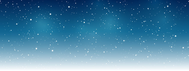 Shiny stars on night sky background - horizontal panoramic banner for Your design Fotomurales