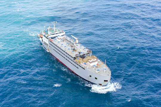 Livestock carrier ship at sea - Aerial image.