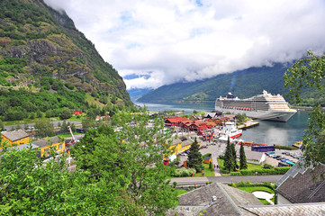 Touristic ship in the port of Flam town