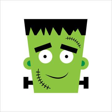 Halloween Frankenstein Vector illustration. Happy Frankenstein Day. Illustration for kids, card Halloween, print.