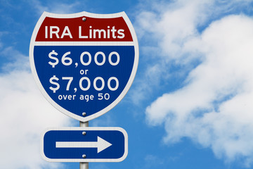 Retirement IRA contributions limits on a USA highway interstate road sign