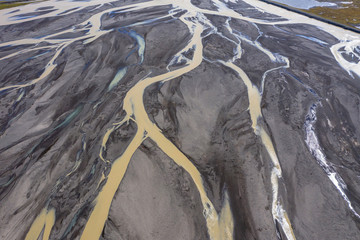 Aerial drone view of glacial river system, Iceland Wall mural