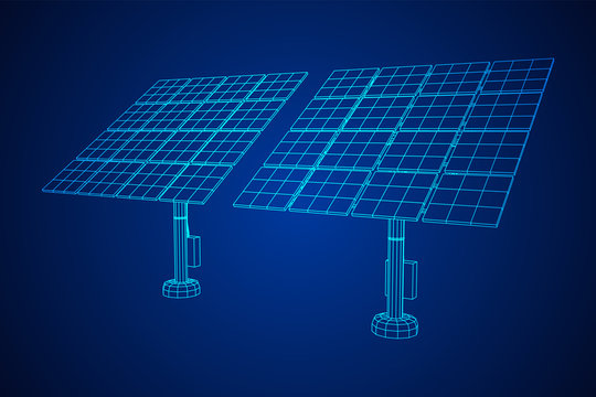 Solar energy panel. Wireframe low poly mesh vector illustration