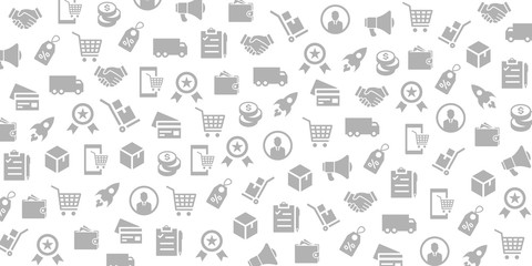 Vector set of design templates and elements for E Commerce tics in trendy linear style - Seamless patterns with linear icons related to E Commerce