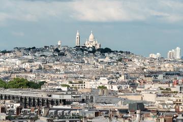 Wall Mural - Landscape of Paris city in France with Sacré-Cœur, famous landmark and travel destination in Europe