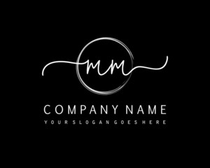 MM Initial handwriting logo with circle hand drawn template vector