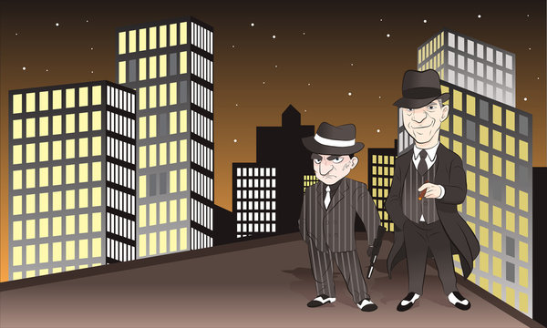 Two mafia standing in the night city. wear hat and hold gun. vector illustration isolated cartoon hand drawn background