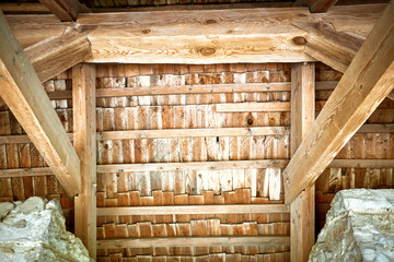 Wooden roof frame in an old house in the countryside.