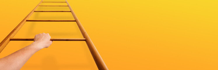 Career Growth. Woman Moving Up Ladder Over Orange Wall