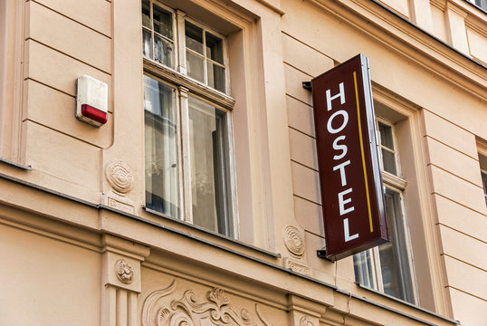 Hostel letters street sign