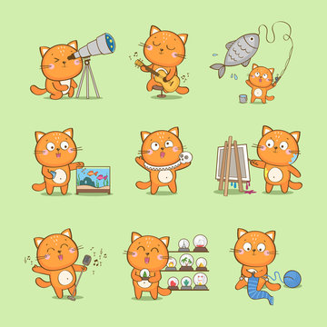 Set of cute cartoon cat character representing different hobbies: fishkeeping, playing guitar, fishing, acting, singing, painting, collecting, knitting, amateur astronomy