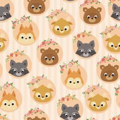 Forest/woodland animals seamless pattern