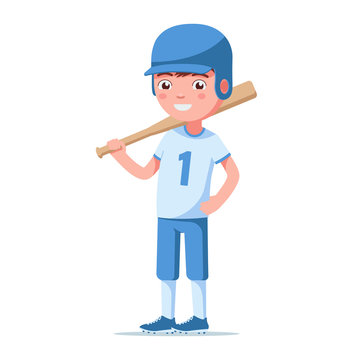 Boy baseball player is standing and holding a bat