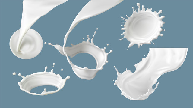 Milk splash or pouring realistic vector illustration. Natural dairy products, yogurt or cream in crown splash with drops or various swirls, for packaging design isolated on blue background
