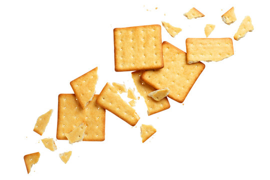 Crushed dry crackers, isolated on white background