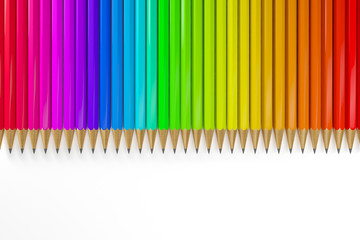 3d render of many colorful pencils