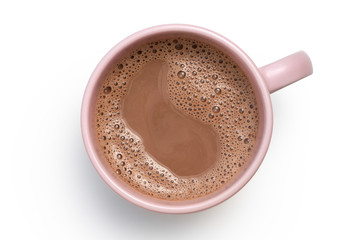 Papiers peints Chocolat Hot chocolate in a pink ceramic mug isolated on white from above.