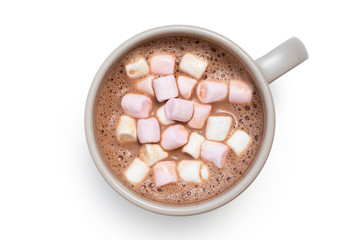 Hot chocolate with small pink and white marshmallows in a grey ceramic mug isolated on white from above.