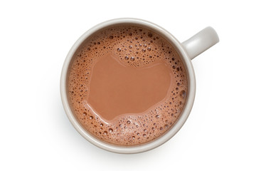 Photo sur Toile Chocolat Hot chocolate in a grey ceramic mug isolated on white from above.