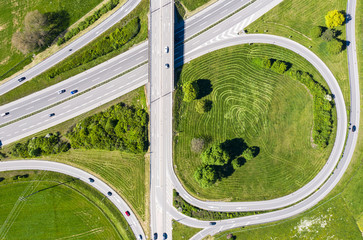 Aerial view of an highway exit
