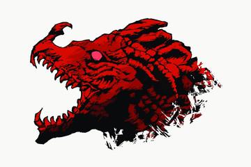 Wild Red Dragon Head Vector
