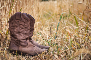 Cowboy boots in wheat field