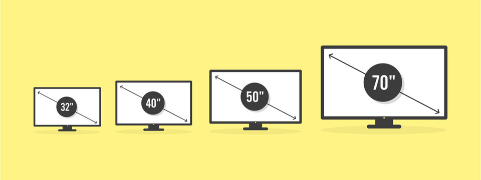 Smart TV icon set. Diagonal screen size in 32, 40, 50 and 70 inches. Lcd television display. Computer monitor. Vector illustration, flat design