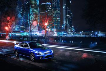 Moscow, Russia - November 21, 2015: Car Subaru Impreza WRX is parked near Moscow-City - International Business Center