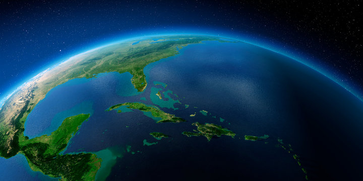 Highly detailed Earth. Caribbean Sea and the Gulf of Mexico