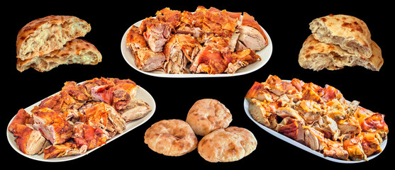 Plateful of Gourmet Spit Roasted Pork Meat Slices with Traditional Pita Leavened Flatbread Loaves Isolated on Black Background