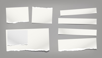 White ripped, torn note, notebook paper strips, copybook sheet stuck on dark grey background. Vector illustration